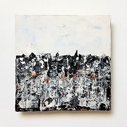 Graphic painting on ceramic tile