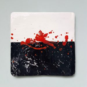 Ceramic painting We all bleed red I